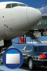 colorado map icon and an airport limousine and a jetliner at an airport