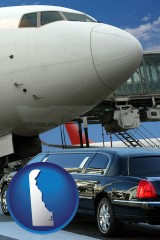 delaware map icon and an airport limousine and a jetliner at an airport