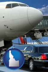 idaho map icon and an airport limousine and a jetliner at an airport