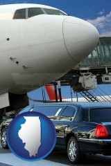 illinois map icon and an airport limousine and a jetliner at an airport