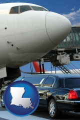 louisiana map icon and an airport limousine and a jetliner at an airport