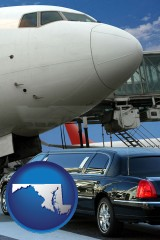 maryland map icon and an airport limousine and a jetliner at an airport