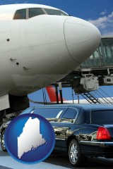 maine map icon and an airport limousine and a jetliner at an airport