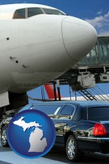 michigan map icon and an airport limousine and a jetliner at an airport