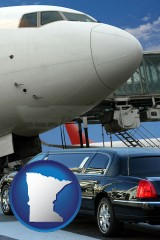 minnesota map icon and an airport limousine and a jetliner at an airport