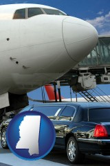 mississippi map icon and an airport limousine and a jetliner at an airport