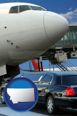 montana map icon and an airport limousine and a jetliner at an airport
