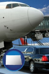 north-dakota map icon and an airport limousine and a jetliner at an airport
