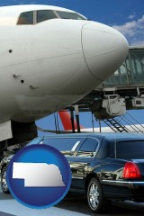nebraska map icon and an airport limousine and a jetliner at an airport