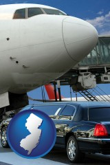 new-jersey map icon and an airport limousine and a jetliner at an airport