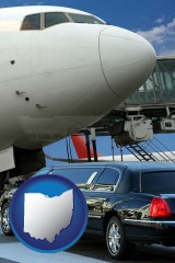 ohio map icon and an airport limousine and a jetliner at an airport