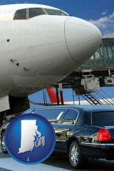 rhode-island map icon and an airport limousine and a jetliner at an airport
