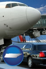 tennessee map icon and an airport limousine and a jetliner at an airport