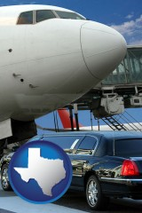 texas map icon and an airport limousine and a jetliner at an airport