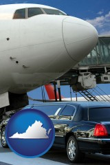 virginia map icon and an airport limousine and a jetliner at an airport