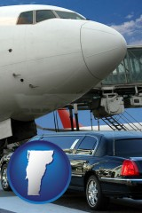 vermont map icon and an airport limousine and a jetliner at an airport