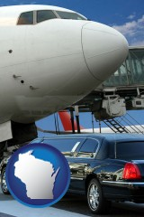 wisconsin map icon and an airport limousine and a jetliner at an airport