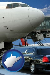west-virginia map icon and an airport limousine and a jetliner at an airport