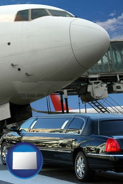 an airport limousine and a jetliner at an airport - with Colorado icon