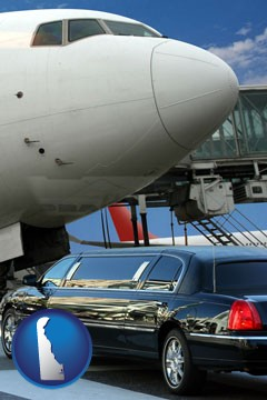 an airport limousine and a jetliner at an airport - with Delaware icon
