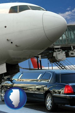 an airport limousine and a jetliner at an airport - with Illinois icon