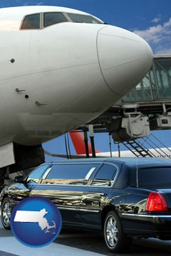 an airport limousine and a jetliner at an airport - with Massachusetts icon