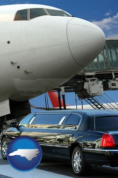 an airport limousine and a jetliner at an airport - with North Carolina icon