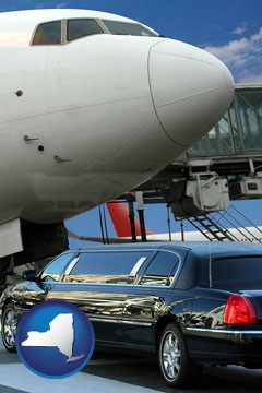 an airport limousine and a jetliner at an airport - with New York icon