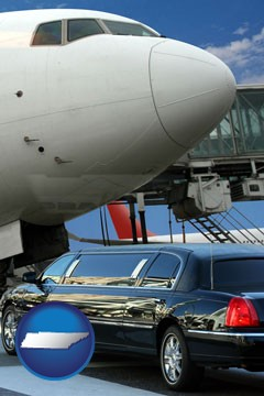 an airport limousine and a jetliner at an airport - with Tennessee icon