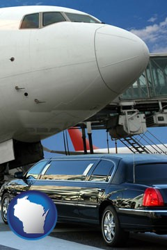 an airport limousine and a jetliner at an airport - with Wisconsin icon