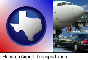 Houston, Texas - an airport limousine and a jetliner at an airport