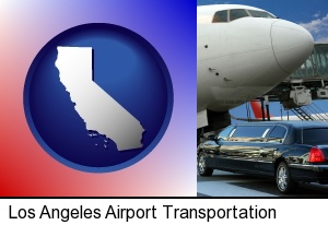 an airport limousine and a jetliner at an airport in Los Angeles, CA