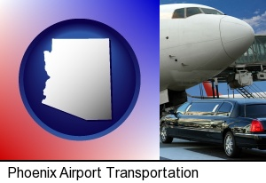 an airport limousine and a jetliner at an airport in Phoenix, AZ