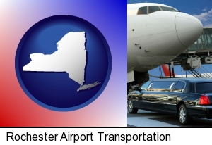 Rochester, New York - an airport limousine and a jetliner at an airport