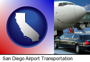 an airport limousine and a jetliner at an airport in San Diego, CA