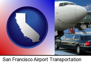 an airport limousine and a jetliner at an airport in San Francisco, CA